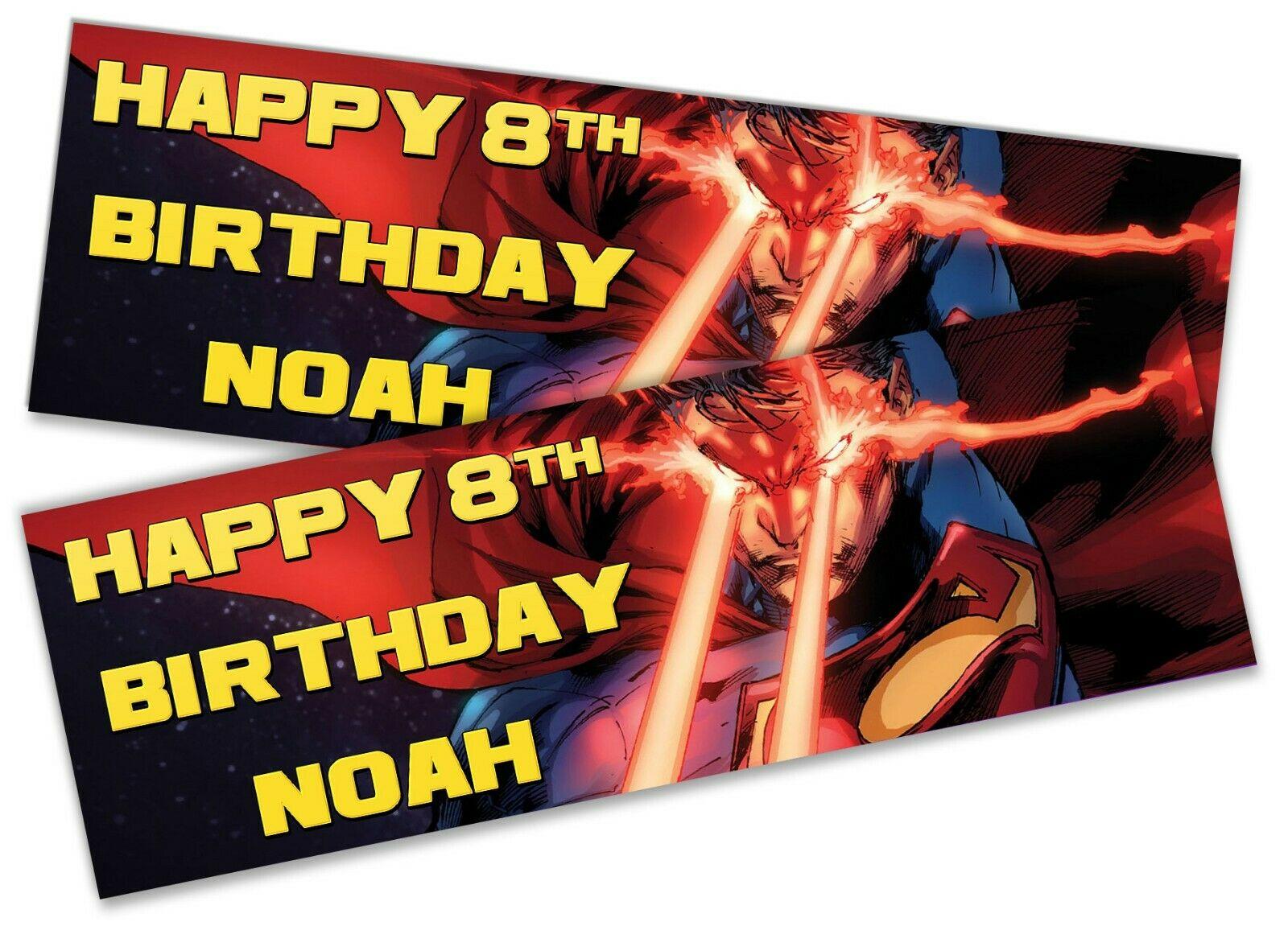 x2 Personalised Birthday Banner Superman Design Children Party Decoration Poster